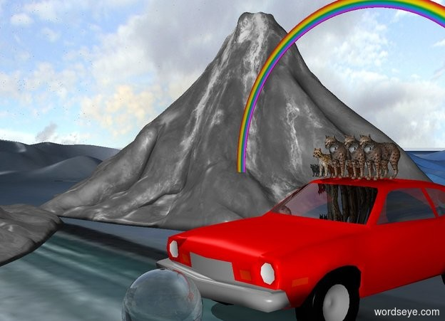 Input text: 8 cats on a 10 feet tall red pinto. 15 feet tall rainbow over the pinto. A 5 feet tall disco ball is in front of the pinto.  There are white mountains 10 feet from the pinto. The ground is sand.