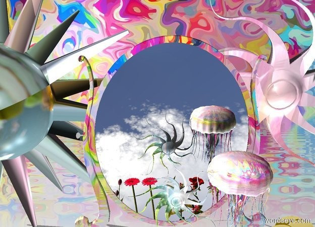 Input text: A giant [psychedelic] jellyfish. five giant pink flowers beneath jellyfish. giant gold cloud right of jellyfish. blossom beneath jellyfish. pink light. giant [psychedelic] mirror behind flowers. giant cloud behind mirror. five giant [flower] stars behind mirror. [cloud] sun symbol above flowers. psychedelic backdrop.