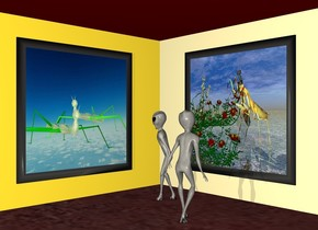 The 1st big  [scene]  painting is in front of and -7 feet above a 1st 80% ivory wall. it is noon. ground is maroon. a 1st 4 foot tall alien is 2 feet in front of and -8.5 feet right of the wall. he faces the painting.  camera light is  linen. ground is .1 foot tall. a 2nd ivory wall faces left. it is -1 foot in front of and -5 feet right of the 1st wall. an maroon floor is -.1 foot in front of and -.1 foot above the 1st wall. The 2nd big [night gardeners]  painting faces left. it is left of and -7 feet above the 2nd wall. it is -2 foot in front of the alien. a 2nd 4 foot tall alien is 1 foot in front of and left of the 1st alien. he faces the 2nd painting. a dim lemon chiffon light is in front of and above and 20 feet left of the alien.
