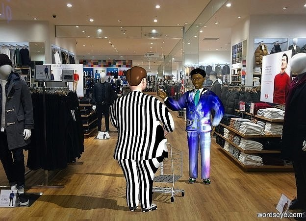 Input text: a 1st man.a cart is in front of the 1st man.shop backdrop.the 1st man's dress suit is stripe.a 2nd 7 feet tall man is 6 feet in front of the 1st man.he is facing the 1st man.the 2nd man's fat dress suit is music.