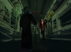 train backdrop.a man.a clear grim reaper is 10 feet in front of the man.he is facing the man.malachite green sun.a 75% old gold light is 2 feet behind the grim reaper.the camera light is dark.