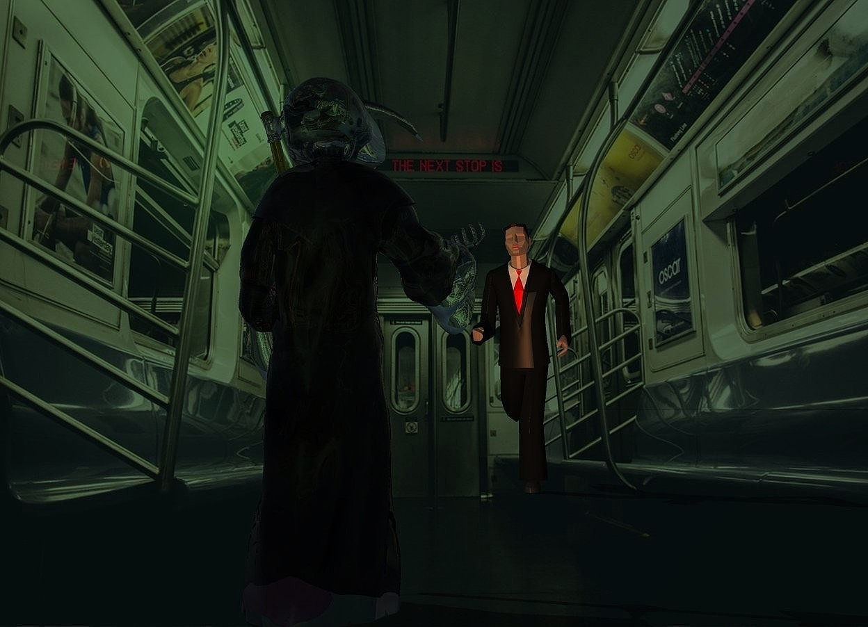Input text: train backdrop.a man.a clear grim reaper is 10 feet in front of the man.he is facing the man.malachite green sun.a 75% old gold light is 2 feet behind the grim reaper.the camera light is dark.