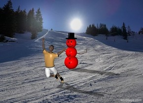 The red Snowman is 4 feet behind the child with the Winter backdrop.