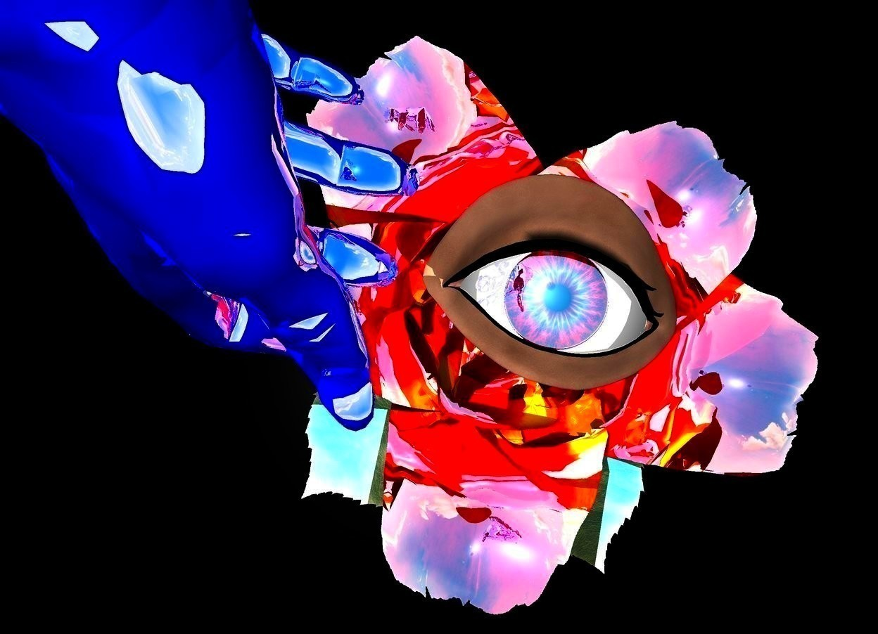 Input text: the ground is black. There is a reflective flower. a small eye is in the flower. the iris of the eye is reflective red. the eye leans 90 degrees to the back. a 1st large red reflective gem is to the right of the flower. the 1st gem is on the ground. a small reflective blue hand is to the left of the flower.