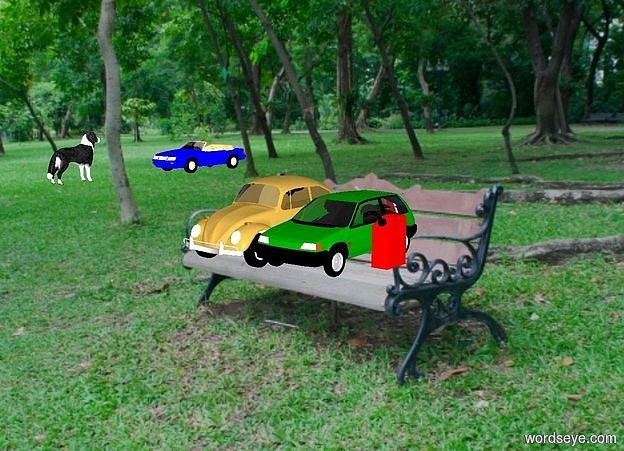 Input text: a park backdrop. a 1st green car is right of a 2nd car. shadow plane is invisible. a 3rd small blue car is 3.4 feet left of and above  the 2nd car. a dog is 5 foot in front of the 3rd car. it faces back. a very big gas can is right of  the 1st car. sun is black. ambient light is gold.
