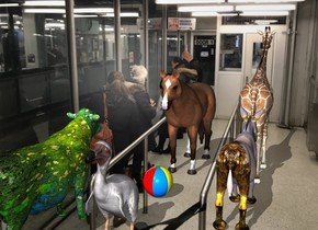 the image backdrop. the small ball. the shadow plane. the horse is 1 inch to the right of the ball. it is facing the ball. The rainbow donkey is 2.5  foot in front of the ball. It is facing right. The small giraffe is to the right of the donkey. It is facing right. The large dodo is 2 feet to the left of the ball. It is facing left. The [flower] cow is .5 foot behind the dodo. It is facing right.