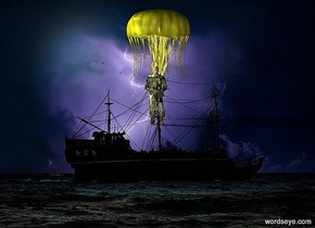 a [sea] backdrop.a 1st 30 inch tall yellow jellyfish.a 15 inch tall yellow soldier is -30 inch above the jellyfish.the soldier is in front of the jellyfish.the soldier is facing west.a huge yellow illuminator.