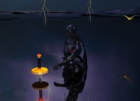 a giant shiny black puddle.a shiny black statue is -3 feet above the puddle.the sky is storm.the sky is upside down.shiny black ground.a yellow light is 2 feet above the statue.a 1st lightning bolt is behind the statue.it is above the statue.a 2nd lightning bolt is in front of the statue.it is above the statue.a 4.5 feet tall sword is 3 inches in front of the statue.it is upside down.the sword's handle is shiny black.a red light is above the sword.a bird is 6 feet behind the 1st lightning bolt.