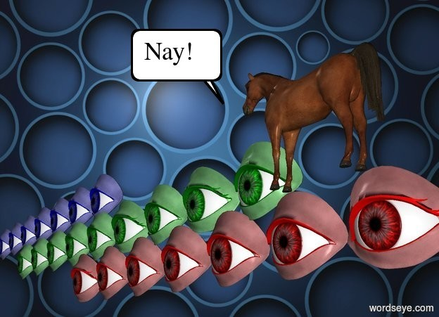 Input text: ten 50 inch tall   eyes.the ten eyes are red.a   [circle] backdrop.nine 50 inch tall green eyes are -10 inch above the ten eyes.eight 50 inch tall blue eyes are -10 inch above the nine eyes.  A horse is 1 foot in front and to the right of the green eyes. It is facing left.