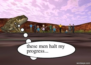 the very huge frog is facing north in front of 10 tiny furious men