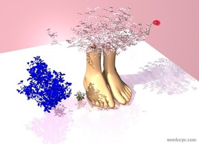 floor is pink and shiny. a yellow flower on floor. a blue flower on floor. two giant feet on floor. a giant snail on one foot. Pink flowers on giant foot. Backdrop is pink.