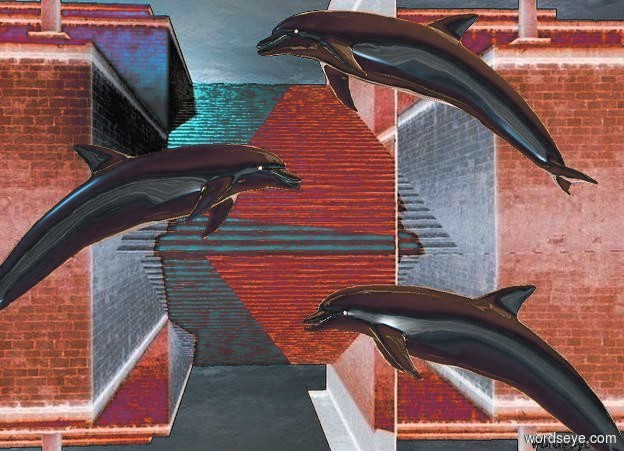 Input text: The  [scene]  backdrop. a 1st shiny dolphin faces left. sky. a 2nd shiny dolphin is left of and -1 foot above the dolphin. it faces right. a 3rd shiny dolphin is -1 foot right of and -1 foot above the 2nd dolphin. it faces left.