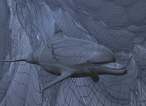 a 200 inch tall  dolphin.the dolphin is 138 inch wide    [grid].a    delft blue  [nm] backdrop.sun is delft blue.a 2000 inch tall delft blue illuminator.camera light is black.