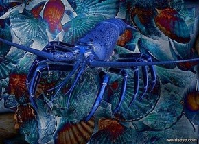 a  delft blue lobster.a [FM] backdrop.ground is invisible.a huge  quartz pink illuminator.sun is baby blue.