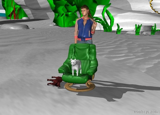 Input text: A white cat sits on a big green chair. Behind the chair stands a big woman. on the ground lies a big brown cat. The ground is grey.