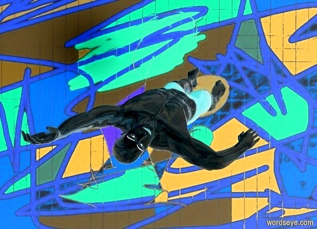 Input text: a [bp1] backdrop.a 80 inch tall   shiny man.the man is upside down.
