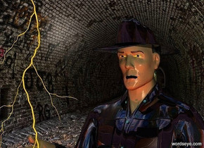 tunnel backdrop.a man.the man's eye is yellow.the man's shirt is shiny black.fantasy sky.a rust light is 1 feet in front of the man.the man's lip is black.the man's iris is blue.a lightning bolt is -24 inches above the man.it is in front of the man.the man's hat is shiny black.