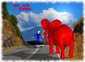 The elephant is  red.The cloudy sky is blue.There is a car.the elephant is four meter tall.The car is one meter tall.The car is one meter in front of the elephant.The car facing to the elephant.A  man sit on  the car.The man is two meter tall. The man is blue.A bright light  to the face of the man