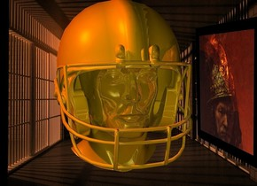 a 100 inch tall  shiny  gold helmet.sky is black.ground is invisible.a 100 inch tall 40% dim gold head is -117 inch above the helmet.  a  [jl] backdrop.sun is old gold.a  70 inch wide picture frame is right of the helmet.the picture frame is facing west.the picture frame is -55  inch in front of the helmet.the picture of the picture frame is 70 inch wide  [rem1].the frame of the picture frame is black.the picture frame leans 10 degrees to the front.a 500 inch tall old gold illuminator.