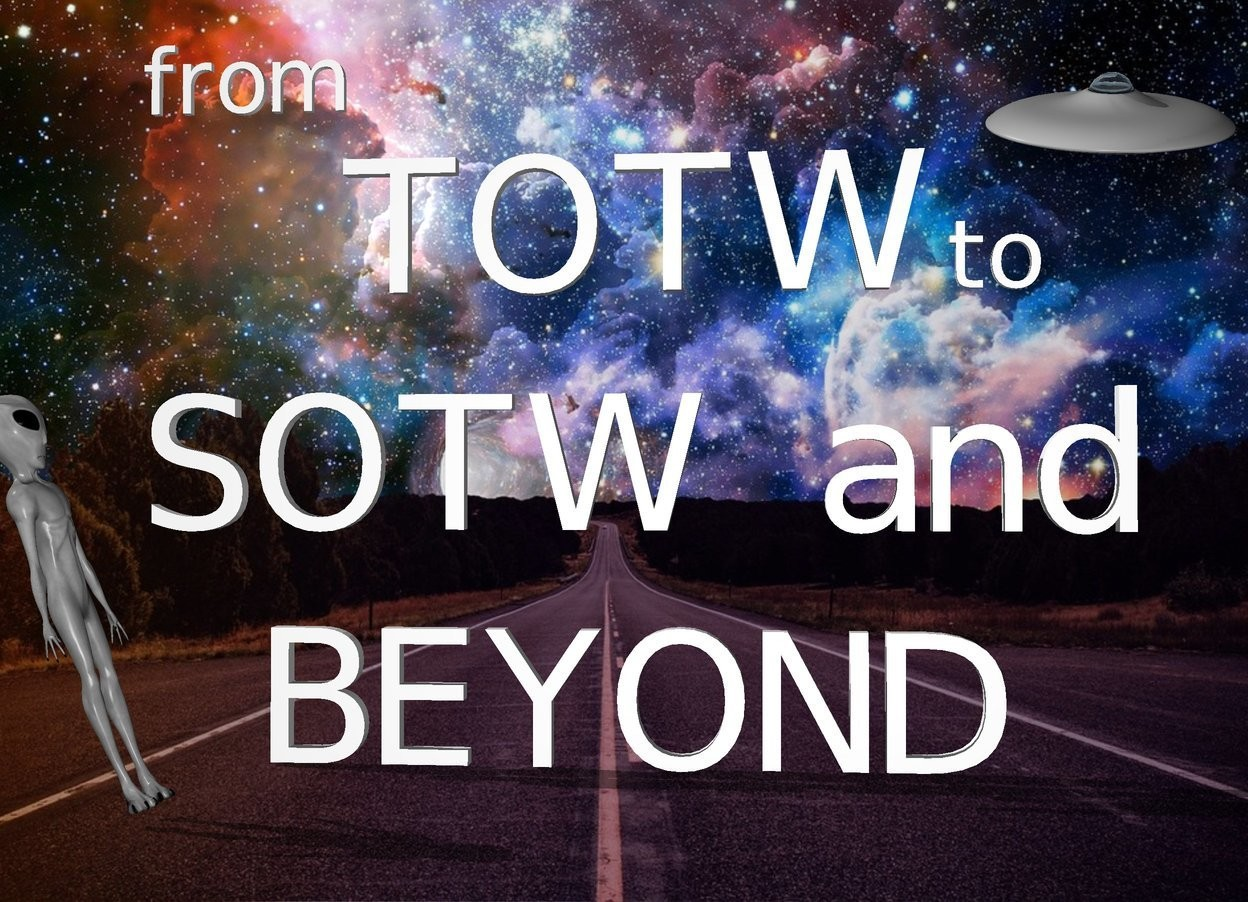 "Input text: The fantasy backdrop. ""SOTW and"" is 1 foot above ""BEYOND"". ""TOTW"" is 1 foot above ""SOTW and"". a small ""from"" is 6 inches above and to the left of the ""TOTW"". a small ""to"" is 3 inches to the right of the ""TOTW"". the very tiny UFO is 2 foot above and -1.5 feet to the right of the ""SOTW and"". It is leaning 25 degrees to the front. the alien is 2 feet in front and to the left of ""BEYOND"". the alien is facing right. he is leaning 20 degrees to the back."