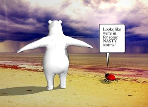 the fantasy backdrop. the humongous ladybug is 2 feet to the left of the polar bear.