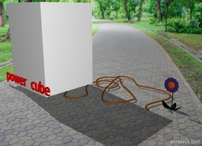 "There is a flower. there is cable next to the flower. there is a generator at the end of the cable. it is 3 foot to the left of the flower. it is facing 45 degrees to the left. the very small red ""power cube""is in front of the generator."