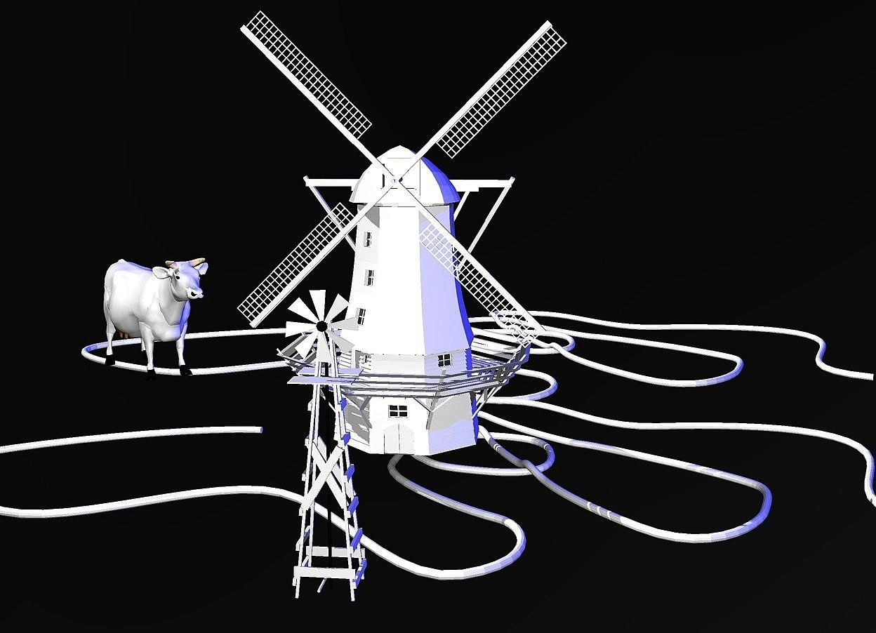 Input text:  a 1st 100 inch tall white windmill.the spinning blade of the 1st windmill is white.the platform of the 1st windmill is white.a 1st 5 inch tall white rope is -110 inch above the 1st windmill.sky is black.ground is invisible.a 2nd 6 inch tall white rope is behind the 1st rope.a 2nd 50 inch tall white windmill is 50 inch in front of the 1st windmill.the sail of the 2nd windmill is white.a 20 inch tall white cow is 7 inch left of the 2nd windmill.the cow is facing southeast.the cow is -15 inch above the 2nd windmill.a 1000 inch tall blue illuminator.