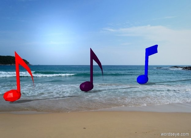Input text: The beach backdrop. A first large purple music note. A second large red music note is 4 feet to the left of the first music note. A third large blue music note is 4 feet to the right of the first music note.