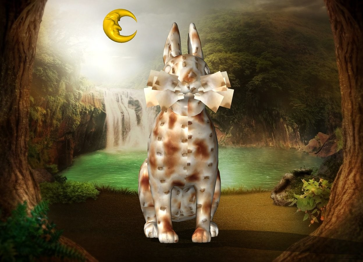Input text: The  fantasy backdrop. The [matzah] texture is on the rabbit. The texture is 5 inches wide. The extremely tiny moon is -1 inches above and to the left of the rabbit. It is facing right.