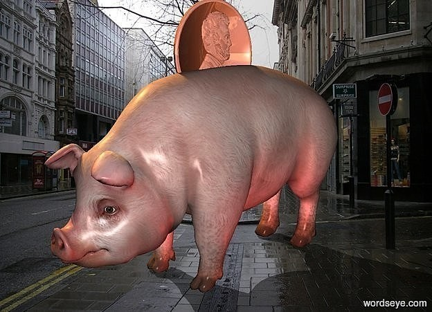 Input text: a 100 inch tall pig.a 50 inch tall and 50 inch wide an 3 inch deep 30% shiny   coin is -20 inch above the pig.the coin is facing east.a 2000 inch tall  orange illuminator.a   maroon  light is  right of the pig.