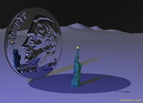 a 100 inch tall and 100 inch wide and 10 inch deep silver coin.sky is black.a 500 inch tall blue illuminator.azimuth of the sun is -20 degrees.a 50 inch tall statue is 50 inch in front of the coin.the statue is -65 inch  left of the coin.