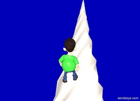 a 6 foot tall white unicorn. a .07 foot tall person is -1.5 foot in front of and -.85 foot above it. the person leans 30 degrees to the back. blue backdrop. sun is black. ambient light is linen. the person's shirt is green.