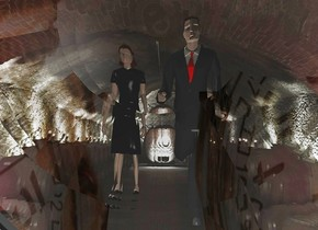 a 20 feet tall upside down magnifying glass.a man is 6 feet behind the magnifying glass.a white light is 6 inches in front of the man.the sky is clock.a woman is 1 feet left of the man.she is behind the man.the sky is upside down.tunnel backdrop.shadow plane.
