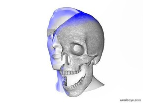 A 100 inch tall white head.a 95 inch tall white skull is -50 inch right of the head.the skull is 6 inch wide [dirt].sky is white.ground is invisible.a blue light is 100 inch above the head.a 500 inch tall blue illuminator.