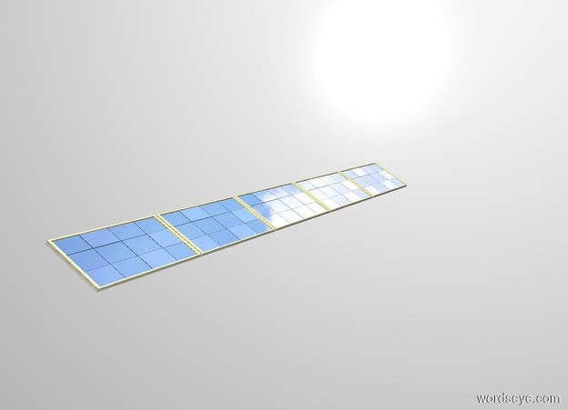 Input text: THE WHITE BACKDROP. 5 solar panels lean 30 degrees to the back.