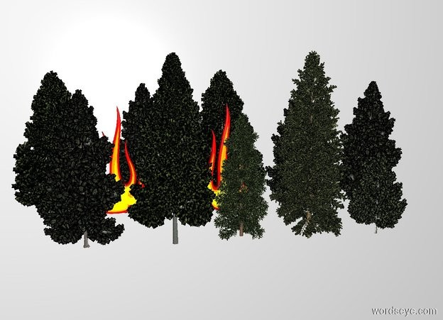 Input text: THE WHITE BACKDROP. A gigantic fire is -30 feet above the small forest. 2nd gigantic fire is left of it. 3rd gigantic fire is left of it.