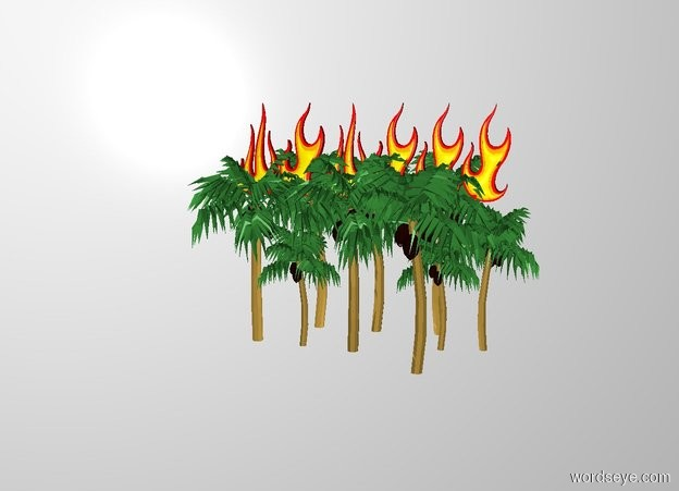 Input text: THE WHITE BACKDROP. 6 gigantic fires are -10 feet above and -40 feet south of the jungle.