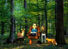 a chair.a small man is -24 inches above the chair.a squirrel is 1 feet in front of the chair.it is facing the chair.a book is -24 inches above the man.it is -8 inches in front of the man.the book is leaning 15 degrees to the north.a hedgehog is 6 inches right of the squirrel.it is facing the chair.a badger is 6 inches left of the squirrel.it is facing the chair.a table is right of the chair.a owl is on the table.a fox is 3 inches right of the hedgehog.it is facing the chair.a 80% yellow light is 2 feet in front of the chair.a small fawn is left of the chair.it is facing southeast.