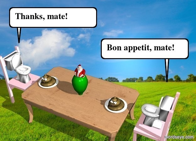 Input text: A grass background. A small table. First pink small chair is 2.5 inch to the left of the table. First chair is facing the table. 2nd small pink chair is 2.5 inch to the right of the table. 2nd chair is facing the table. 1st 9 inch tall toilet is on the 1st chair. 2nd 9 inch tall toilet is on the 2nd chair. There is a green 7 inch tall vase on the table. In the vase is a 5 inch tall santa claus. Santa claus is facing back. 1st small plate is -7 inch on the right side of the table. 1st plate is in the table. 2nd small plate is -7 inch on the left side of the table. 2nd plate is on the table. 1st small poop is in the 1st plate. 2nd small poop is in 2nd plate. 1st poop is facing back. 2nd poop is facing back.