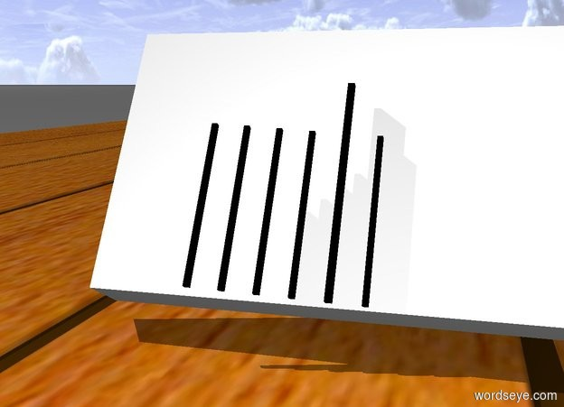 Input text: a white board is on the table. the board leans 30 degrees to the back. the stick of the board is black.
