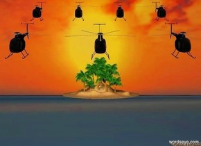 The  [scene]  backdrop. camera light is black.  ambient light is peach puff.  sun is black. 1st .4 foot tall black helicopter. 2nd .4 foot tall black helicopter is .2 foot right of the 1st helicopter. 3rd .4 foot tall black helicopter is .2 foot left of the 1st helicopter. 4 .3 foot tall black helicopters are behind and above the 1st helicopter.