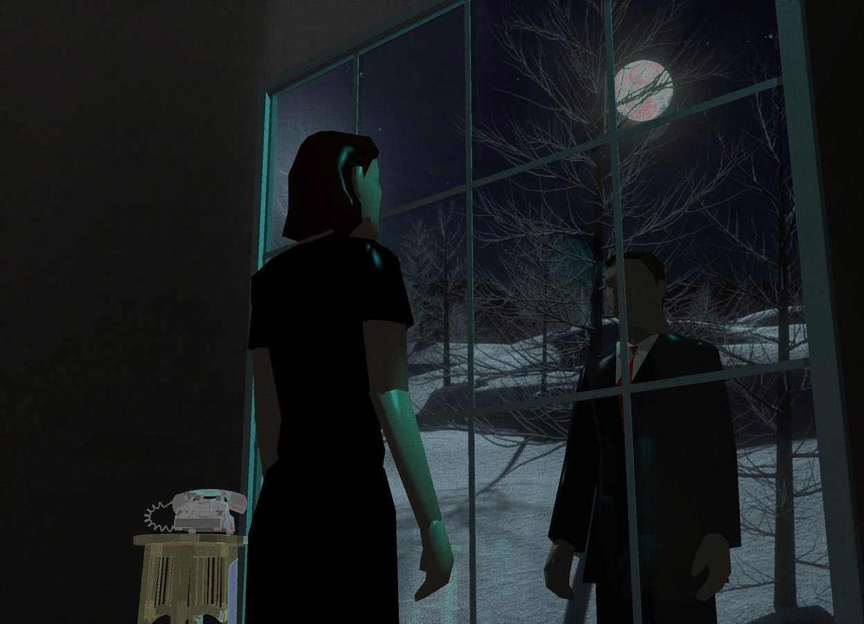 Input text: Moon backdrop. A flat shiny black wall is left of a 50% dark window. Camera light is black. A flat shiny black wall is right of the window. A very long flat shiny black wall is on the window. The sky is [black]. The sky is dark. A woman is 1 foot in front of and -8 feet above the window. She is facing the window. A cyan light is in front of and above and right of the window. A shiny khaki table is 4 inch left of the woman. A shiny telephone is on the table. It is facing southeast. A man is 2 feet behind and -8 feet above the window. A cyan light is above and behind the man.