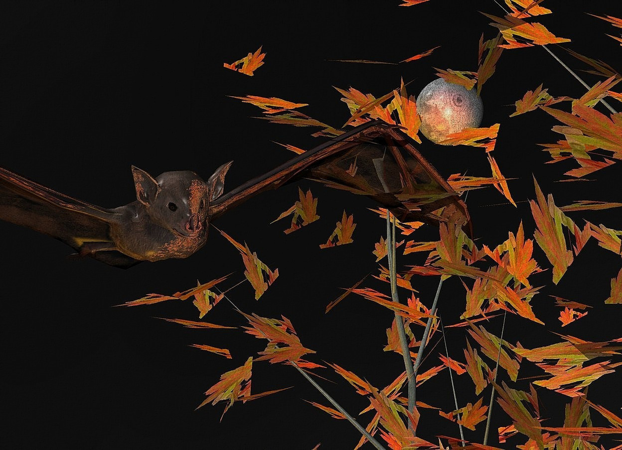 Input text:  a 300 inch tall maple tree.sky is black.ground is invisible.a 15 inch tall shiny bat is -60 inch left of the maple tree.the bat is -120 inch above the maple tree.the bat is facing southeast.a huge orange illuminator.a 16 inch tall  moon is behind the maple tree.the moon is -115 inch above the maple tree.the moon is -50 inch left of the maple tree.a red light is in front of the moon.