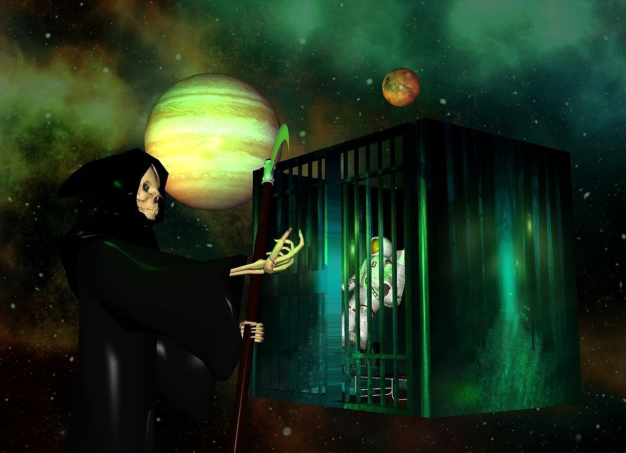 Input text: The image backdrop.a fantasy jail.the jail's cot is olive.a man is -6 feet in front of the jail.a 20 feet tall grim reaper is in front of the jail.he is -20 feet above the jail.the grim reaper is facing northeast.a green light is 2 feet right of the jail. a lime light is above the grim reaper.it is in front of the grim reaper.malachite green sun.a 1st planet is 8 feet left of the jail.it is above the jail.a 2nd planet is 3 feet above the jail.a rust light is 2 feet in front of the 1st planet.the man is leaning 25 degrees to the north.the grim reaper's eye is silver.the man is -10 feet above the jail.