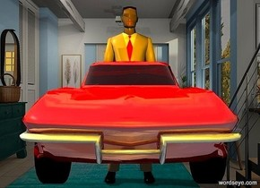 a 100 inch tall shiny  car.camera light is black.backdrop is 85% dim.a 300 inch tall tan man is behind the car.two  gold lights are 100 inch in front of the car.the  lights are -5 inch above the man.the man is -190 inch above the car.