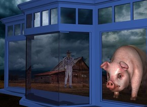 a 200 inch tall and 100 inch deep and 350 inch wide  delft blue  window.the window pane of the window is clear.a house backdrop.a 70 inch tall pig is -120 inch in front of the window.the pig is -140 inch above the window.the pig is -75 inch right of the window.ambient light is gray.a 120 inch tall shiny man is -300 inch in front of the window.the man is -350 inch right of the window.the man is -180 inch above the window.the man is facing the pig.