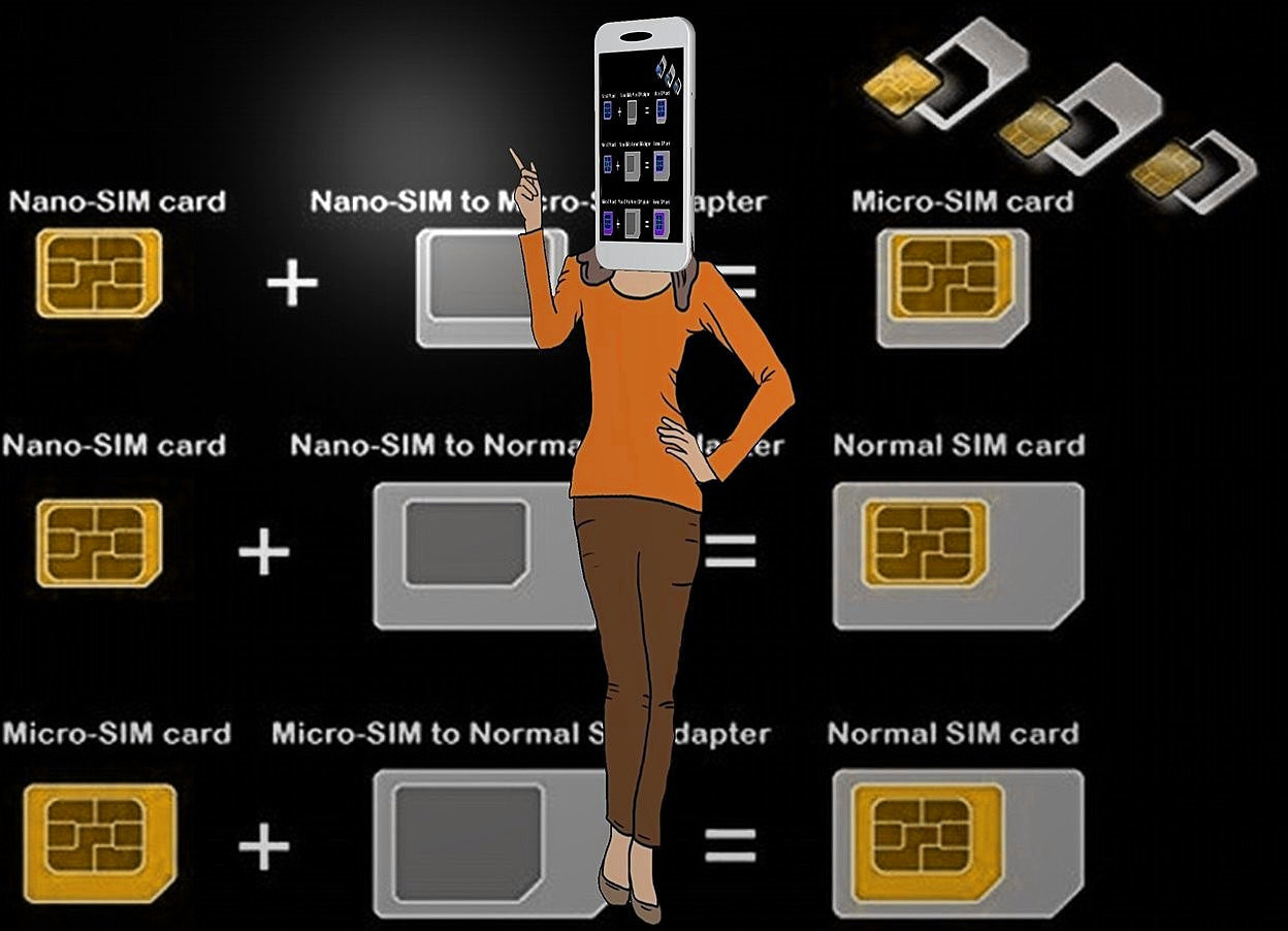 Input text: a yellow [sim] backdrop.a 50 inch tall shiny woman.sky is black.a 14 inch tall cellphone is -10 inch above the woman.the display screen of the cellphone is [sim].