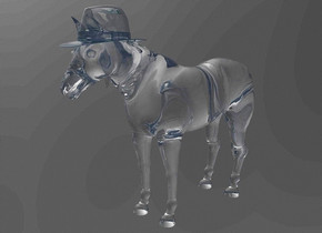 a 100 inch tall glass horse.sky is black.ground is invisible.a 17 inch tall  clear  turquoise  hat is -13 inch above the horse.the hat is -41 inch in front of the horse.