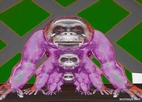 a 1st shiny grape ape is 1 foot tall and 2 feet wide and 2 feet deep.  a 2nd shiny grape .5 foot tall and 1 foot wide and 1 foot deep ape is -1 foot in front of the ape. a 3rd shiny grape ape is 1.5 feet tall and 3 feet wide and 3 feet deep. it is -2 feet in front of the 1st ape. ground is 100 feet deep.