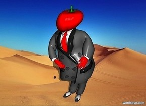 a 100 inch tall red man.the man is facing northwest. a 23 inch tall tomato is -18 inch above the man..the stem of the tomato is green.the necktie of the man is red.